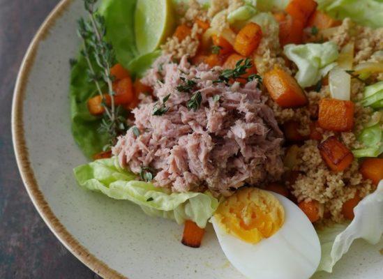 de beste wijn bij - salade met pompoen en tonijn